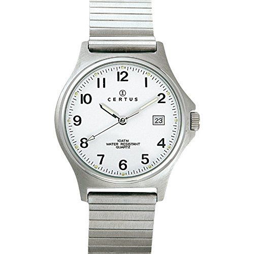 Certus 615826 Armbanduhr Quarz Analog Weisses Ziffernblatt Armband Metall silber
