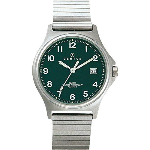 Certus 615827 Armbanduhr Quarz Analog Zifferblatt schwarz Armband Metall silber