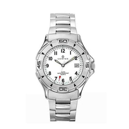 Certus 616801 Armbanduhr Quarz Analog Weisses Ziffernblatt Armband Stahl Silber