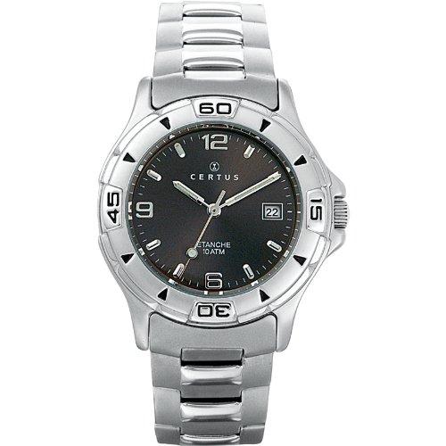Certus 616805 Armbanduhr Quarz Analog Zifferblatt schwarz Armband Stahl Silber