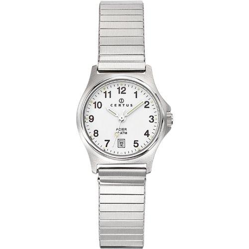 Certus 625020 Damen Armbanduhr Quarz Analog Zifferblatt weiss Metallarmband Silberfarben