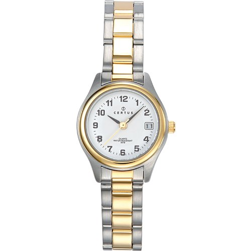 Certus 642315 Damen Armbanduhr 045J699 Analog weiss Armband Metall Zweifarbig