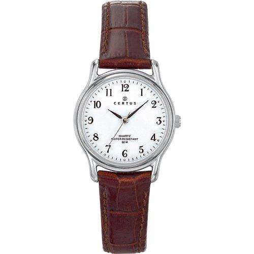 Certus 644379 Damen Armbanduhr Quarz Analog Weisses Ziffernblatt Armband Leder braun