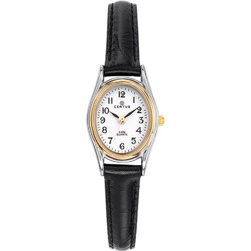 Certus 645347 Damen Armbanduhr Quarz Analog Weisses Ziffernblatt Armband Leder Schwarz