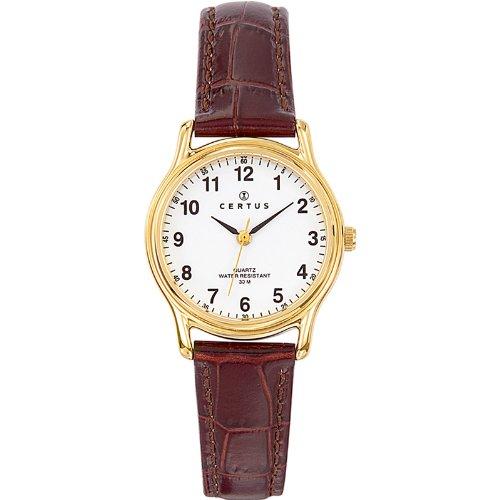 Certus 646231 Damen Armbanduhr Quarz Analog Weisses Ziffernblatt Armband Leder braun