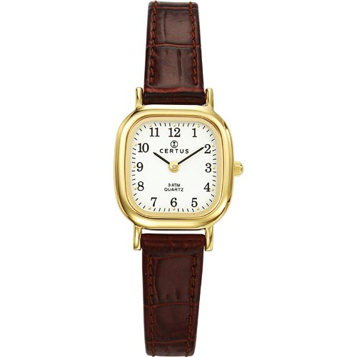 Certus 646523 Damen Armbanduhr Quarz Analog Weisses Ziffernblatt Armband Leder braun