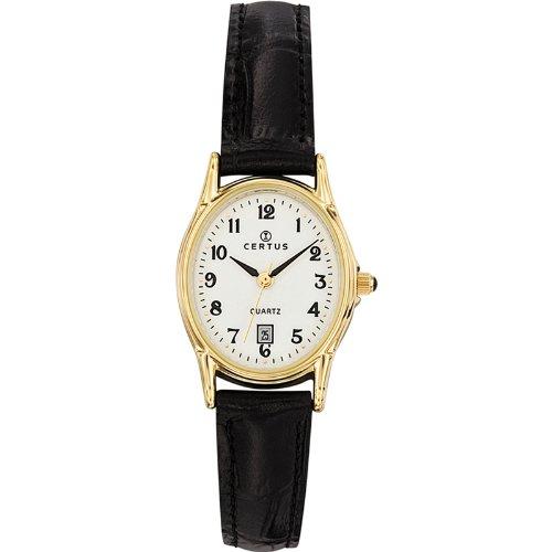 Certus 646544 Damen Armbanduhr Quarz Analog Weisses Ziffernblatt Armband Leder Schwarz