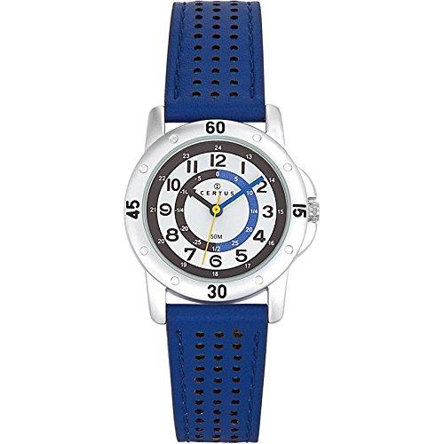 Certus 647495 Armbanduhr Quarz Analog Weisses Ziffernblatt Armband Leder Blau
