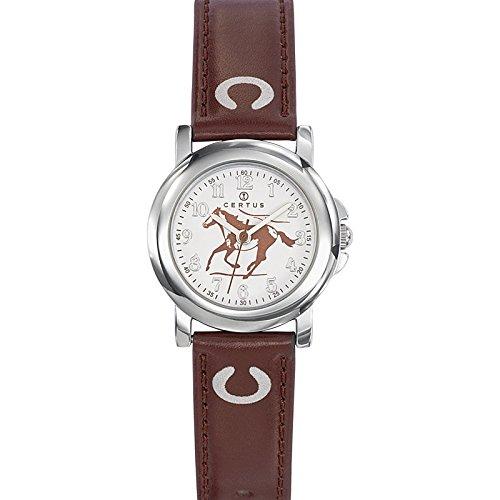 Certus 647592 Armbanduhr Quarz Analog Weisses Ziffernblatt Armband PU Braun