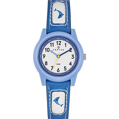Certus 647584 Armbanduhr Quarz Analog Weisses Ziffernblatt Armband Kunstleder blau
