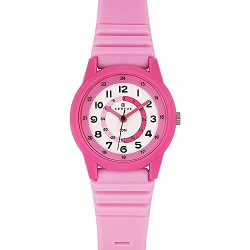 Certus 647582 Armbanduhr Quarz Analog Weisses Ziffernblatt Armband Kunststoff rosa