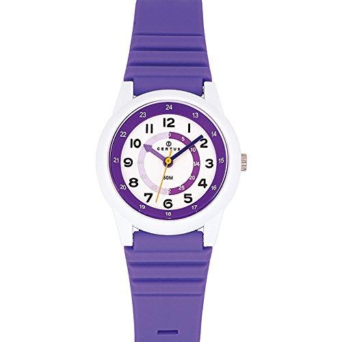 Certus 647581 Armbanduhr Quarz Analog Weisses Ziffernblatt Armband Kunststoff violett