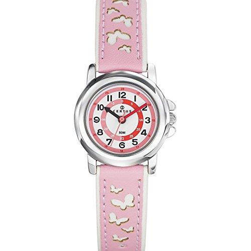 Certus 647587 Armbanduhr Quarz Analog Weisses Ziffernblatt Armband Kunststoff rosa