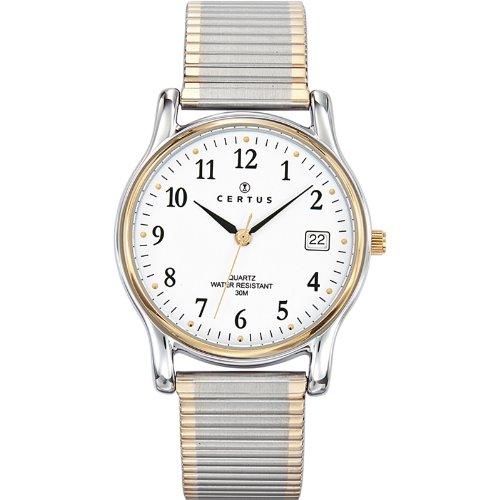 Certus 616366 Armbanduhr Quarz Analog Weisses Ziffernblatt Armband Stahl zweifarbig