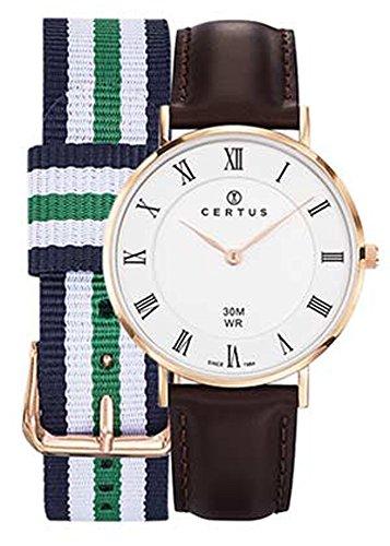 Certus 612399 Gehaeuse Rotgold Armband Leder braun Zifferblatt weiss