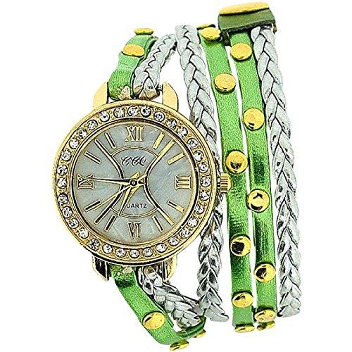 Damenuhr extralanges gruenes Metall Silber geflochtenes Armband SW 1097