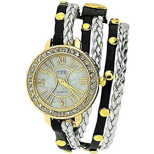 Damenuhr extralanges schwarzes Metall Silber geflochtenes Armband SW 1097