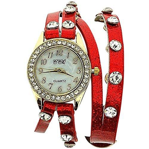 Damenuhr mit Kristallen besetzt extralanges rotes Glitzerarmband SW 1096