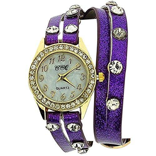 Damenuhr mit Kristallen besetzt extralanges violettes Glitzerarmband SW 1096