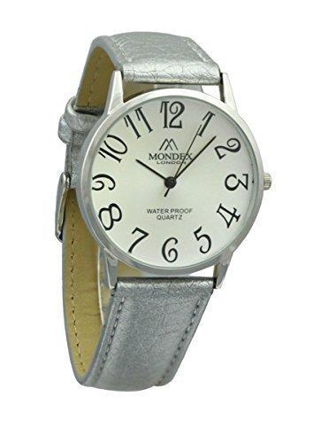 Mondex Azaza MABZ Damen Silber vergoldet PU Leder Armbanduhr Silber Armband mit weissen Zifferblatt
