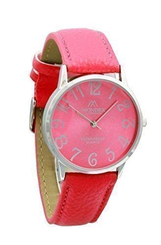 Mondex Azaza MABZ Damen Silber vergoldet PU Leder Armbanduhr rote Armband mit rotem Zifferblatt