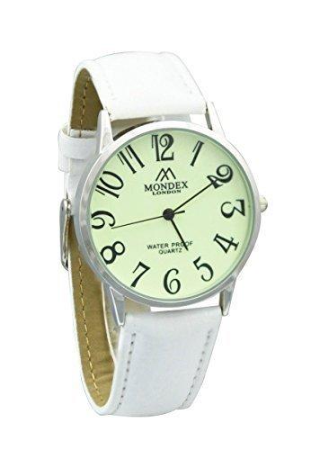Mondex Azaza MABZ Damen Silber vergoldet PU Leder Armbanduhr weisses Band mit leuchtenden Zifferblatt