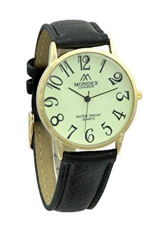 Mondex Azaza MABZ Damen Gold Plated PU Leder Armbanduhr schwarzem Armband mit leuchtenden Zifferblatt