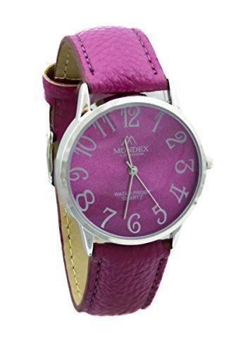 Mondex Azaza Damen Silber Plattiert PU Leder Armband Uhr Fuchsie Band Mit Fuchsie Ziffernblatt