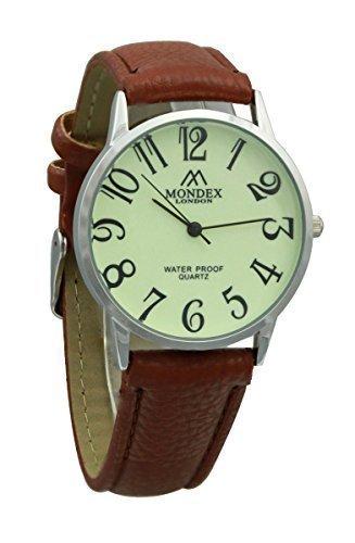 Mondex Azaza Damen Silber Plattiert PU Leder Armband Uhr Braunes Band Mit Leuchtendes Ziffernblatt