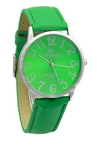 Unisex Silber Plattiert Mondex Azaza Pu Leder Armband Uhr Gruen Uhrenarmband Gruen Ziffernblatt