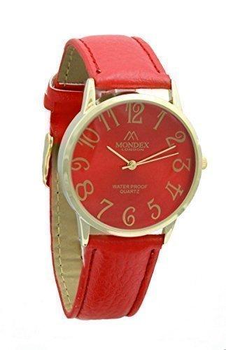 Mondex Azaza Damen Vergoldet PU Leder Armband Uhr Rot Band Mit Rotes Ziffernblatt