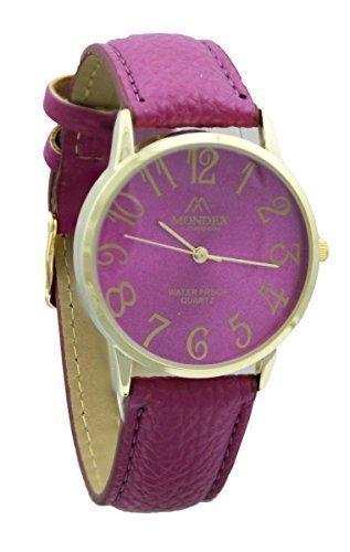 Mondex Azaza Damen Vergoldet PU Leder Armband Uhr Fuchsie Band Mit Fuchsie Ziffernblatt