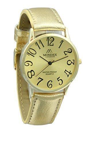 Mondex Azaza Damen Vergoldet PU Leder Armbanduhr Gold Armband Mit Goldenes Ziffernblatt