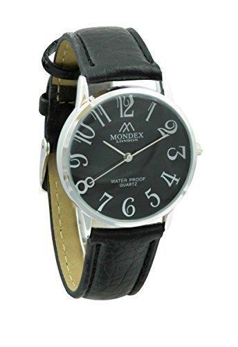 Unisex Silber Plattiert Mondex Azaza Pu Leder Armband Uhr Schwarzes Band Mit Schwarzer Ziffernblatt