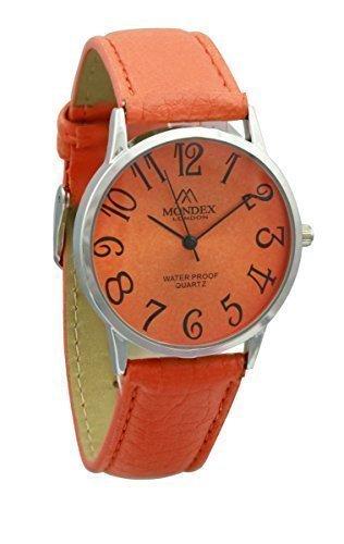 Unisex Silber Plattiert Mondex Azaza Pu Leder Armband Uhr Orange Band Mit Orange Ziffernblatt