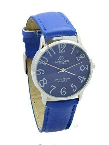 Unisex Silber Plattiert Mondex Azaza PU Leder Armband Uhr Blaues Band Mit Ziffernblatt Blau