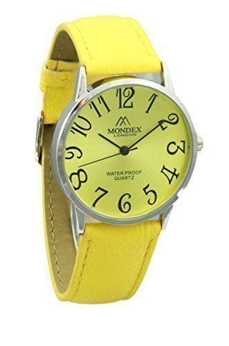 Unisex Silber Plattiert Mondex Azaza Pu Leder Armband Uhr Gelb Band Mit Gelb Ziffernblatt