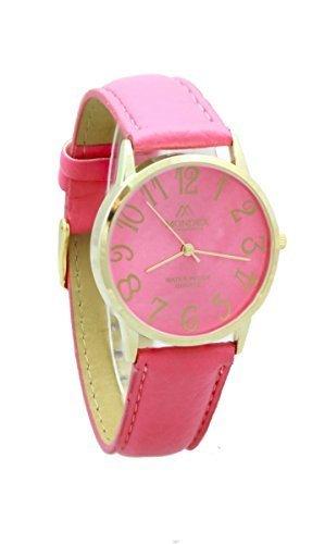 Unisex Gold Plated Mondex Azaza MABZ PU Leder Strap Watch heisse rosa Band mit heissen Rosa Zifferblatt
