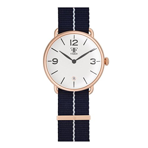 Faber No 2 Series F1008RG Armbanduhr Rosegold Unisex Nato Strap Blau Weiss
