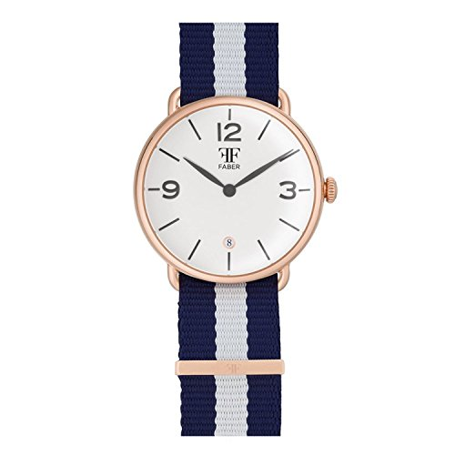 Faber No 2 Series F1009RG Armbanduhr Rosegold Unisex Nato Strap Blau Weiss