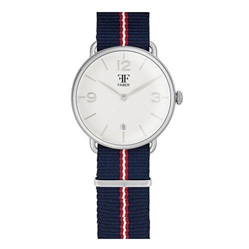 Faber No 2 Series F2010SL Armbanduhr Silber Unisex Nato Strap Blau Rot Weiss