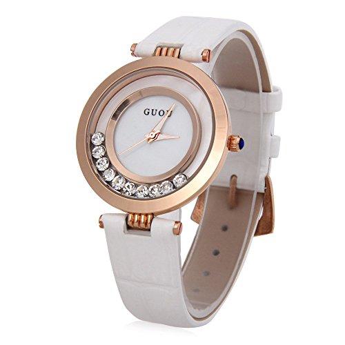 Leopard Shop guou 8039 weiblich Quarzuhr Rolling Kuenstliche Diamant echt Leder Band Armbanduhr Wasser Widerstand weiss