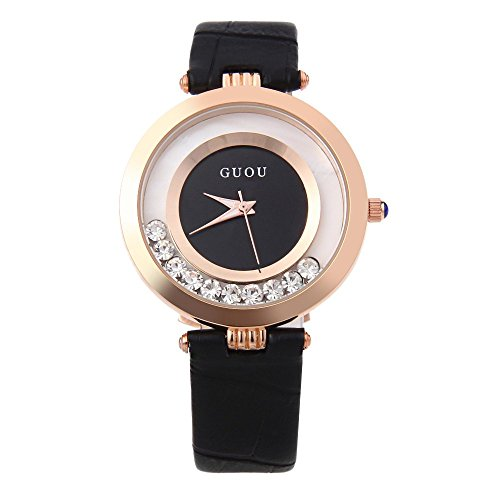 Leopard Shop guou 8039 weiblich Quarzuhr Rolling Kuenstliche Diamant echt Leder Band Armbanduhr Wasser Widerstand schwarz