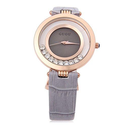 Leopard Shop guou 8039 weiblich Quarzuhr Rolling Kuenstliche Diamant echt Leder Band Armbanduhr Wasser Widerstand grau
