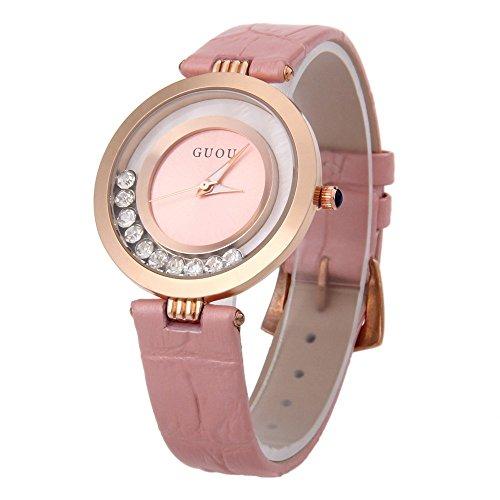 Leopard Shop guou 8039 weiblich Quarzuhr Rolling Kuenstliche Diamant echt Leder Band Armbanduhr Wasser Widerstand Pink