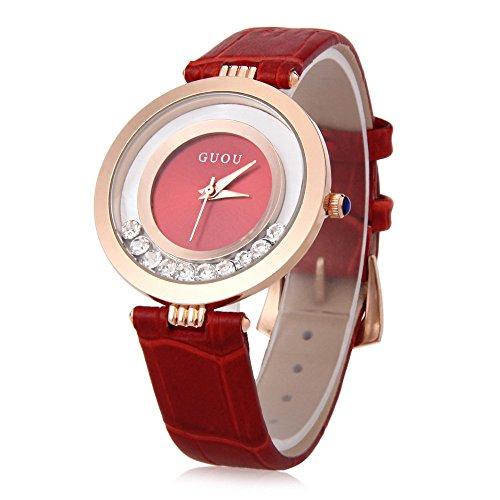 Leopard Shop guou 8039 weiblich Quarzuhr Rolling Kuenstliche Diamant echt Leder Band Armbanduhr Wasser Widerstand rot