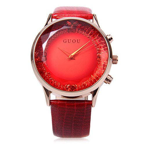 Leopard Shop guou 8107 weiblich Quarzuhr Sparkling Oberflaeche quadratisch geschliffenen Spiegel echtes Lederband rot