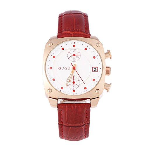 Leopard Shop guou 8108 Frauen Quarz Armbanduhr quadratisches Zifferblatt Chronograph Kuenstliche Diamant Skala 3 ATM Armbanduhr Rot