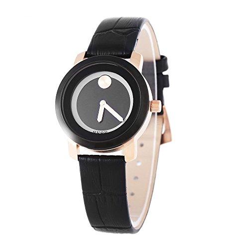Leopard Shop guou 8158 Deko Frauen Quarz Armbanduhr Mineral Glas Spiegel Echt Leder Armband Armbanduhr 30 m Wasser Widerstand