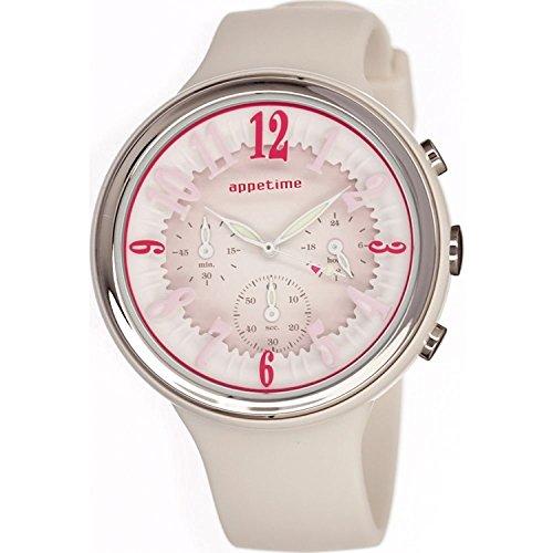 Appetime Svd540015 Frauen Weisse Band Rosa Zifferblatt Suessigkeiten Chronograph Uhr